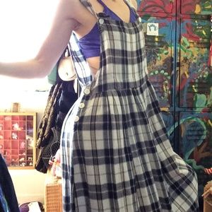Cute Options Plaid Grunge Overall Maxi Dress